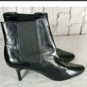 Ralph Lauren Black Leather Ankle Heeled Boots